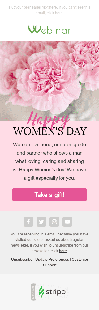 "Women's Day Email Template ""Pink Carnation"" for Webinars industry mobile view"