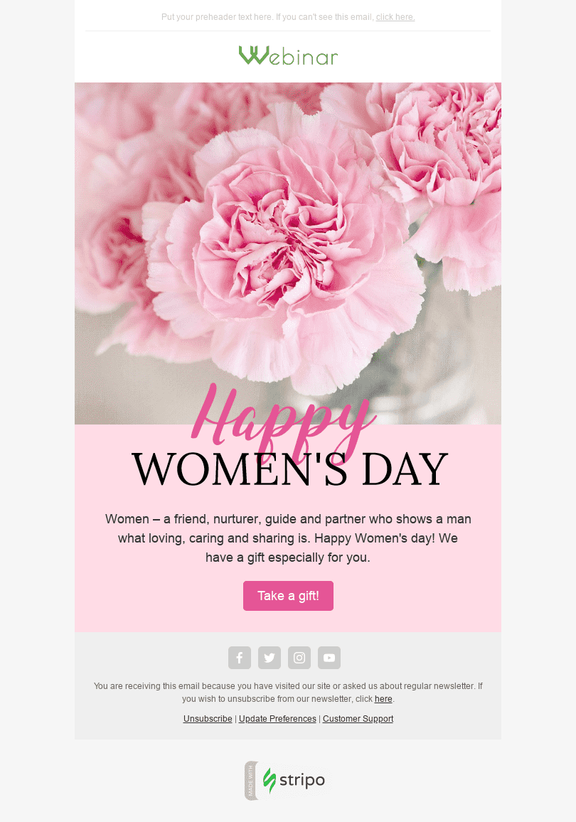 "Women's Day Email Template ""Pink Carnation"" for Webinars industry desktop view"