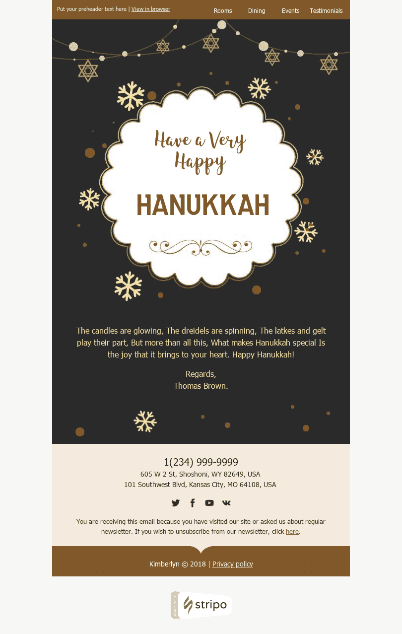 Stripo Hotels Holiday newsletter Hanukkah Happiness and Joy email web