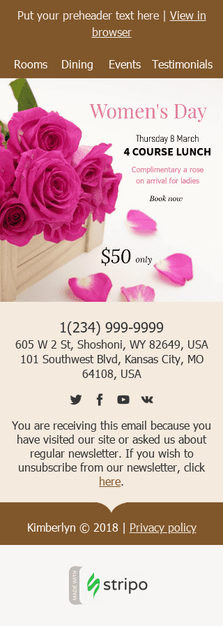 "Women's Day Email Template ""Surprise Her"" for Hotels industry mobile view"