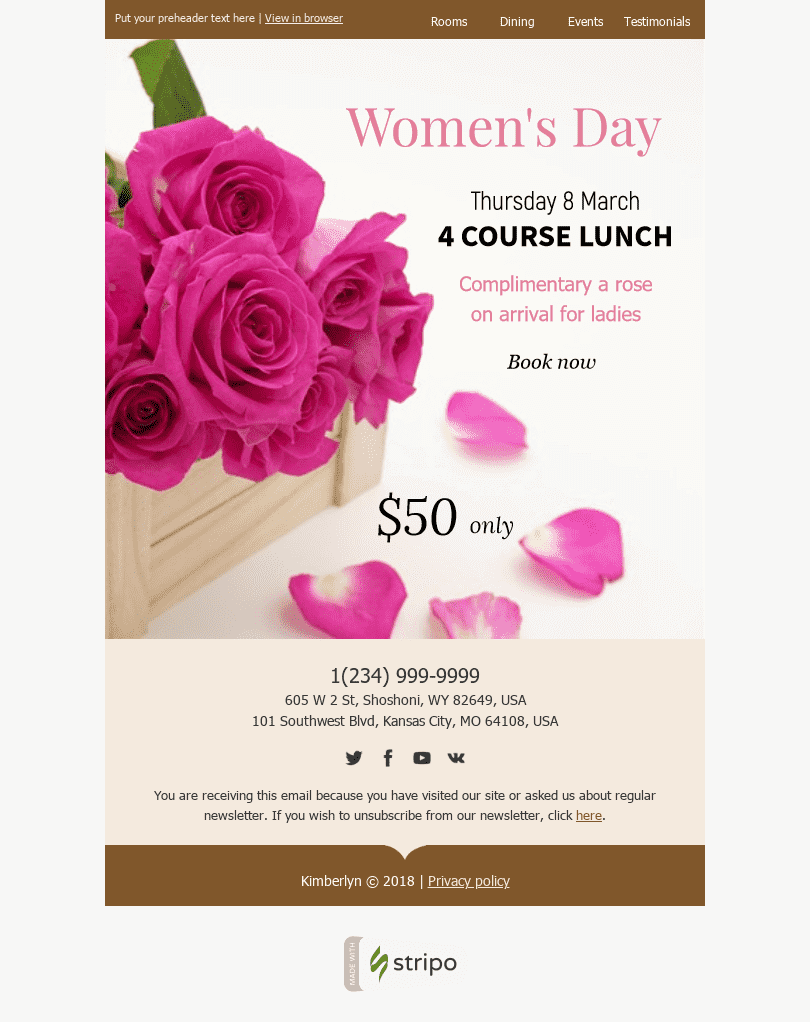 "Women's Day Email Template ""Surprise Her"" for Hotels industry desktop view"