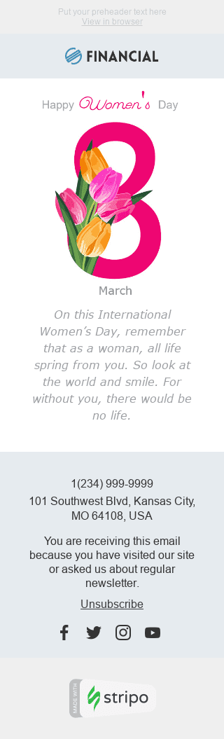 "Women's Day Email Template ""Gift a Smile"" for Finance industry mobile view"