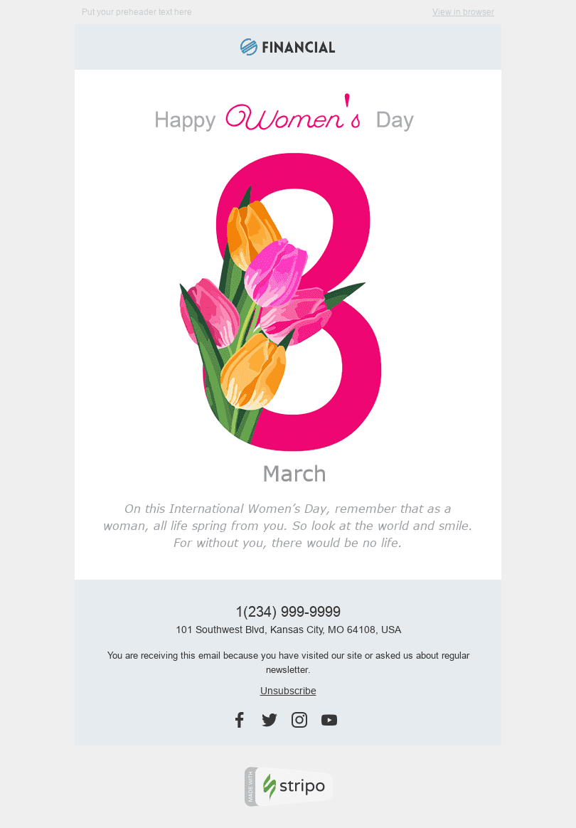 "Women's Day Email Template ""Gift a Smile"" for Finance industry desktop view"
