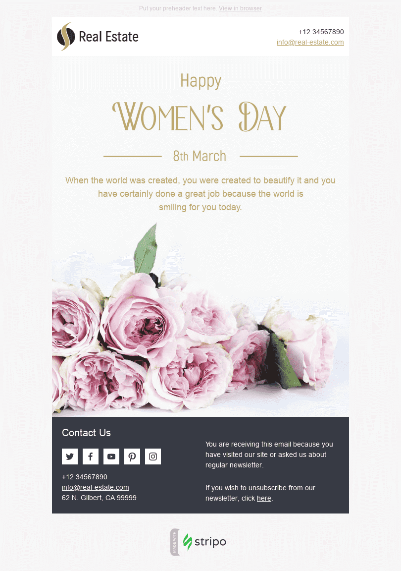 Stripo Real Estate Holiday newsletter Womens day Gentle Roses email web