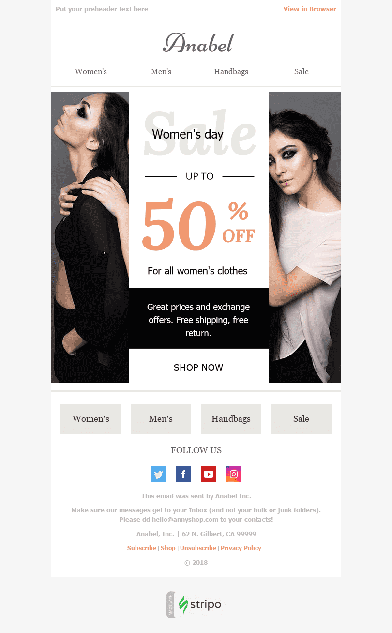 "Women's Day Email Template ""New Look"" for Fashion industry desktop view"