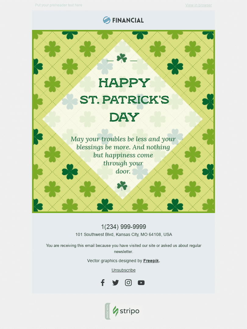 "St. Patrick's Day Email Template ""Enchanted Time"" for Finance industry desktop view"