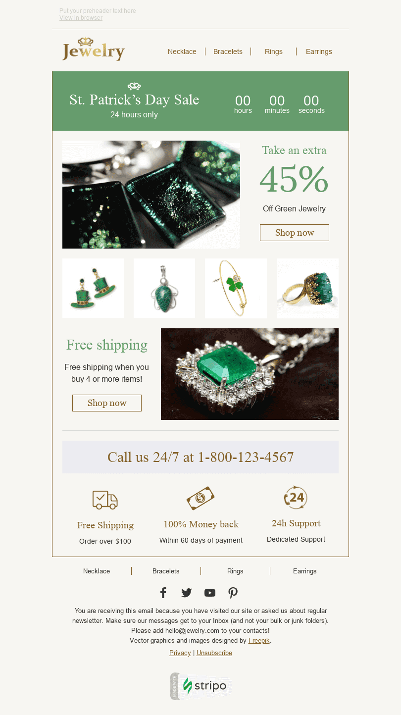 "St. Patrick's Day Email Template ""Lucky Hours"" for Jewelry industry desktop view"