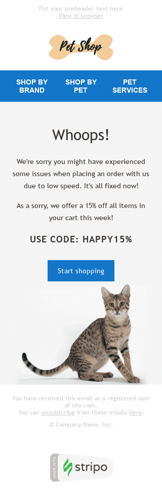 Apology Email Template «Whoops» for Pets industry mobile view
