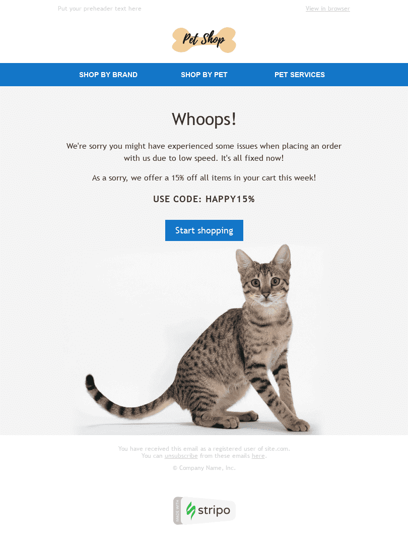 Apology Email Template «Whoops» for Pets industry desktop view