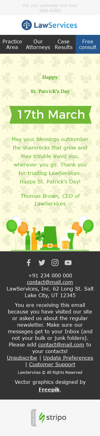 "St. Patrick's Day Email Template ""Good Wishes"" for Legal industry mobile view"