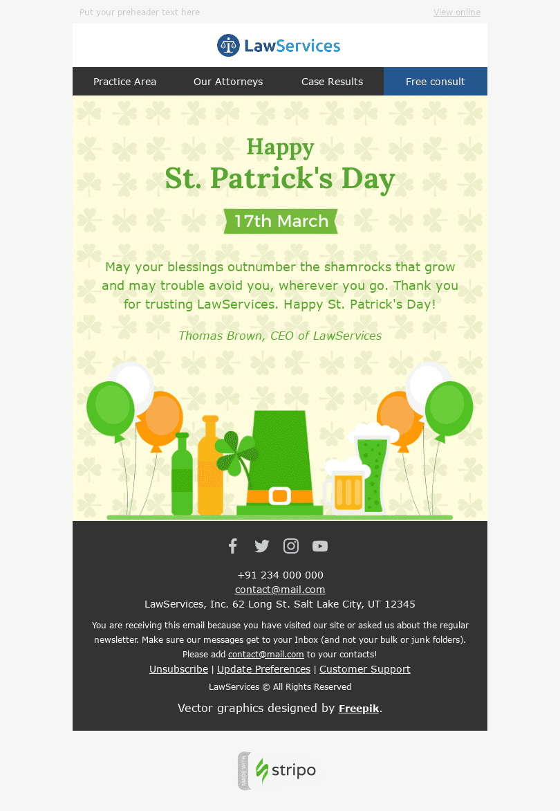 "St. Patrick's Day Email Template ""Good Wishes"" for Legal industry desktop view"