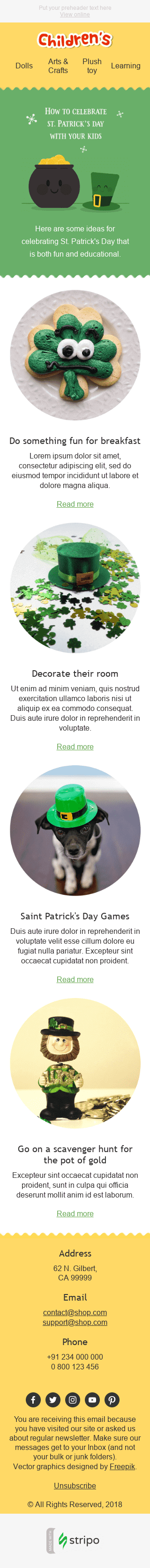 Stripo Children Holiday newsletter Happy St Patrick's Day Fun Ideas email web