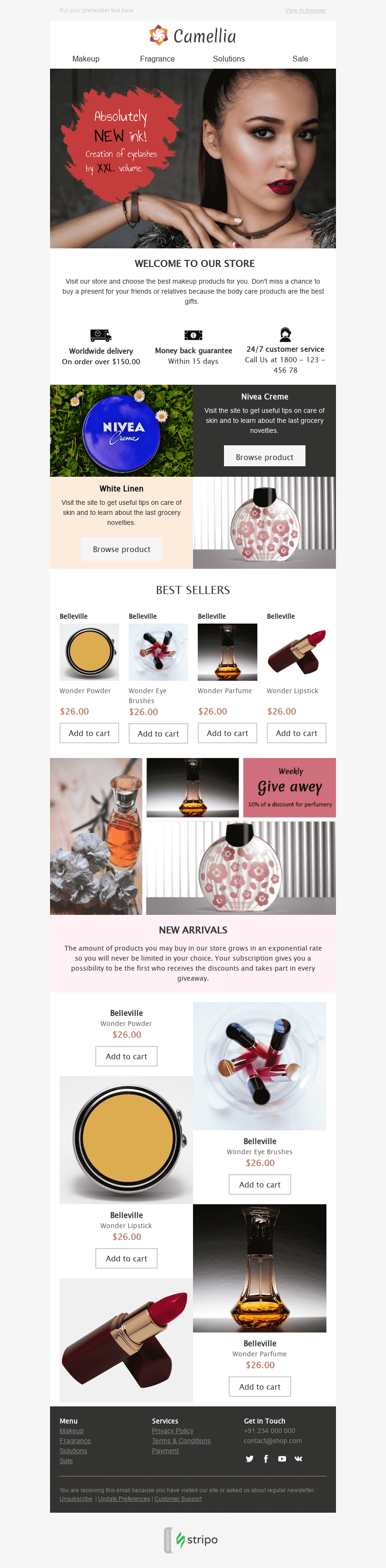 Stripo Cosmetics Promo newsletter Womans Beauty email web
