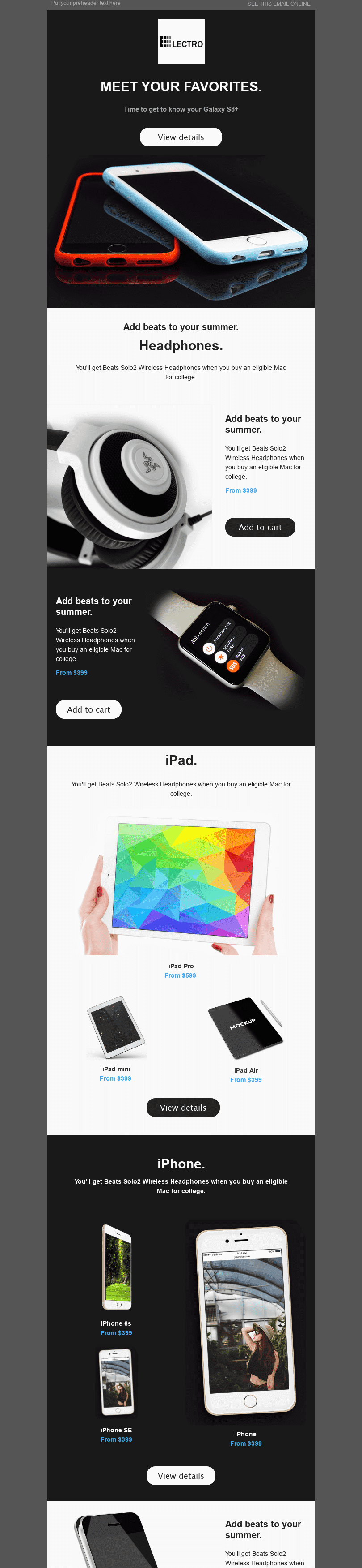 "Promo Email Template ""Hi-tech"" for Gadgets industry desktop view"