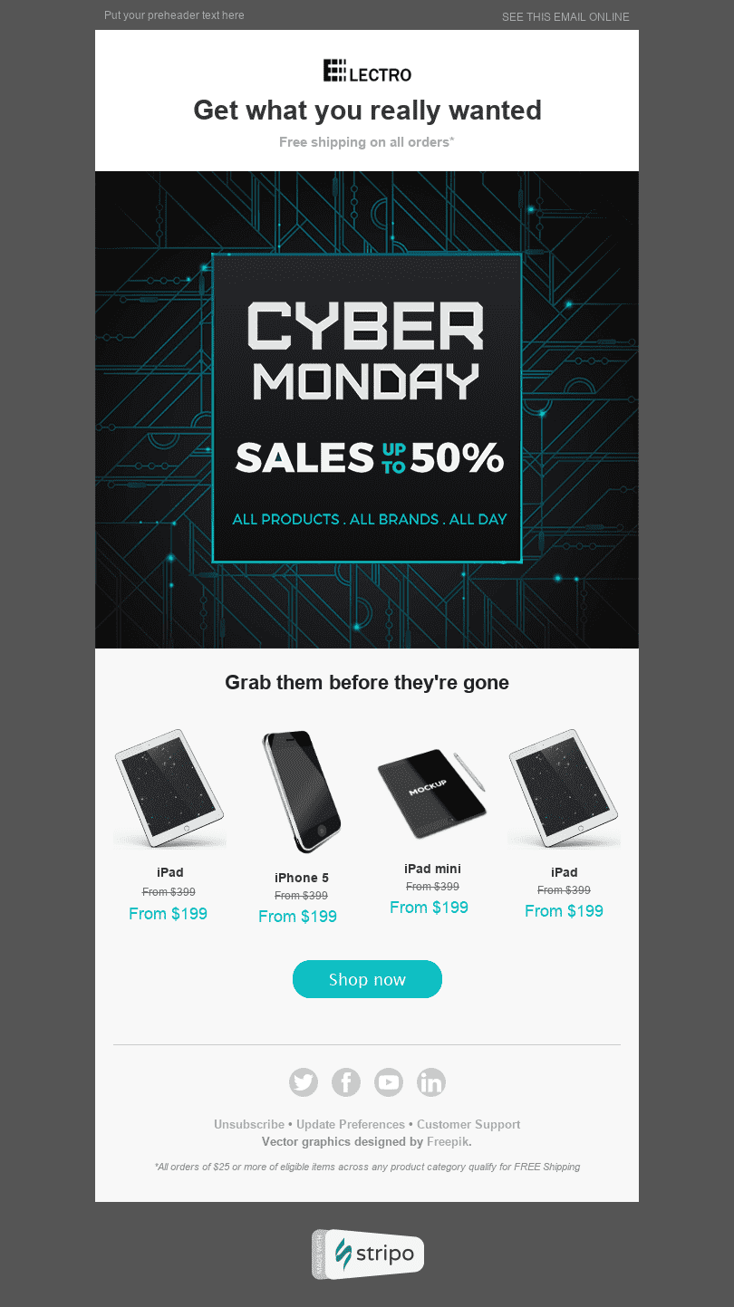 "Cyber Monday Email Template ""Online Sales"" for Gadgets industry desktop view"