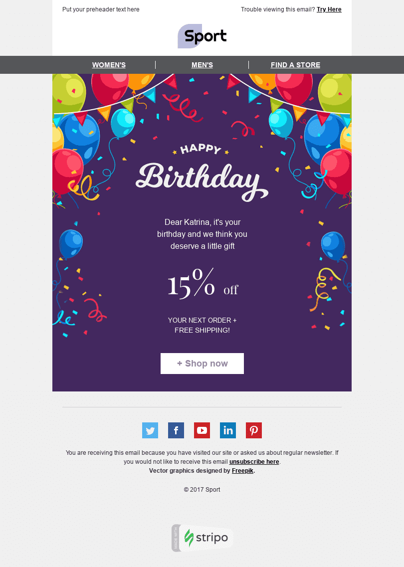 "Birthday Email Template ""Cheerful Party"" for Sports industry desktop view"