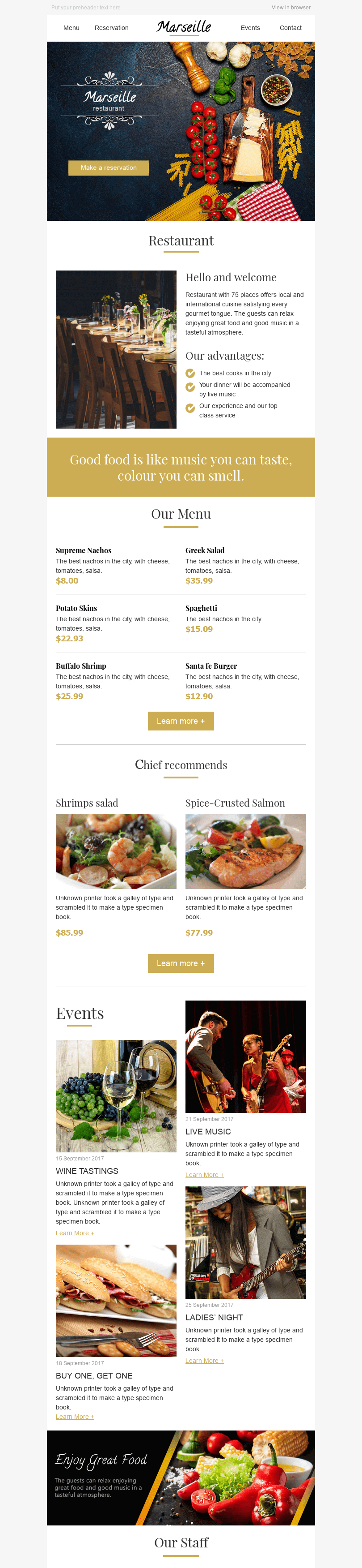 "Promo Email Template ""Harmony of Taste"" for Restaurants industry desktop view"