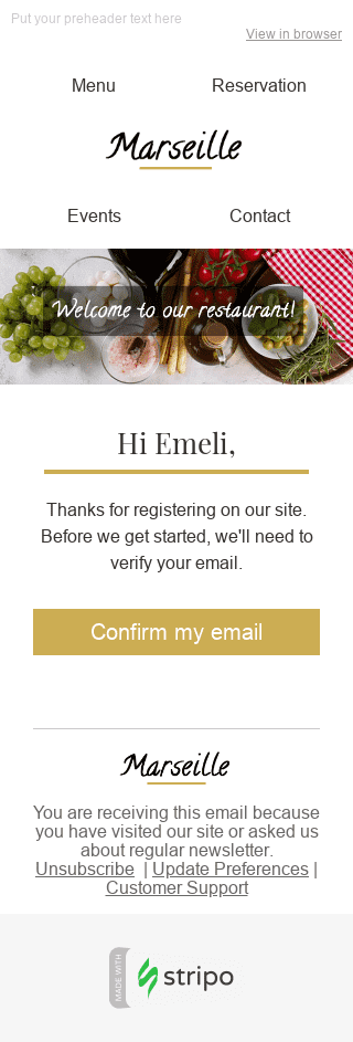 Stripo Restaurants Trigger newsletter Welcome email web