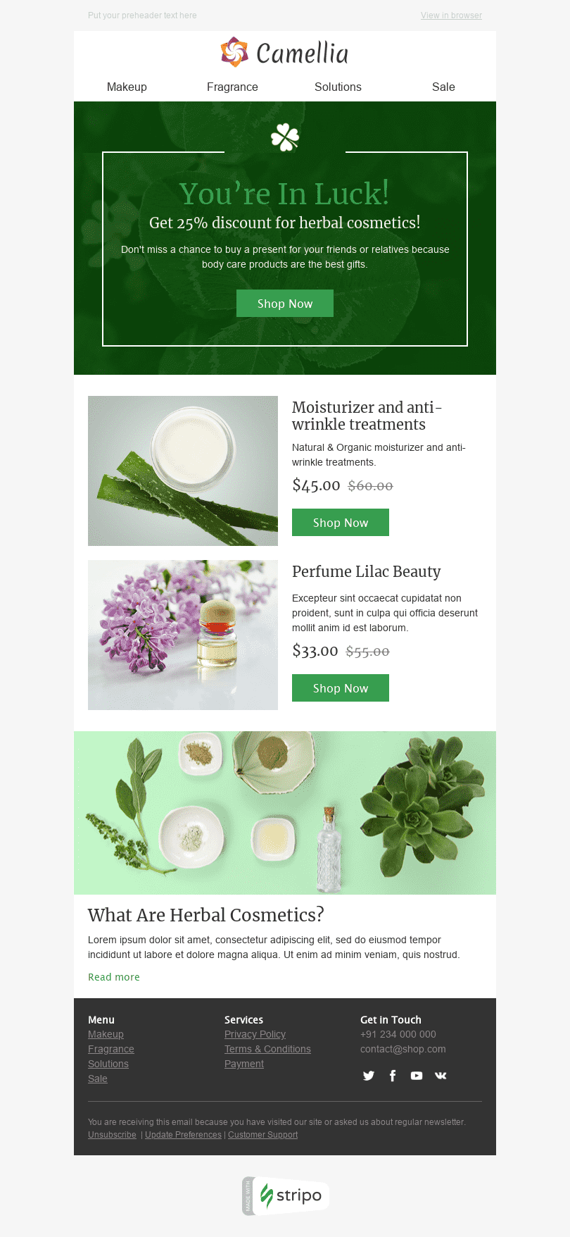 St. Patrick's Day Email Template «Herbal Cosmetics» for Beauty & Personal Care industry desktop view