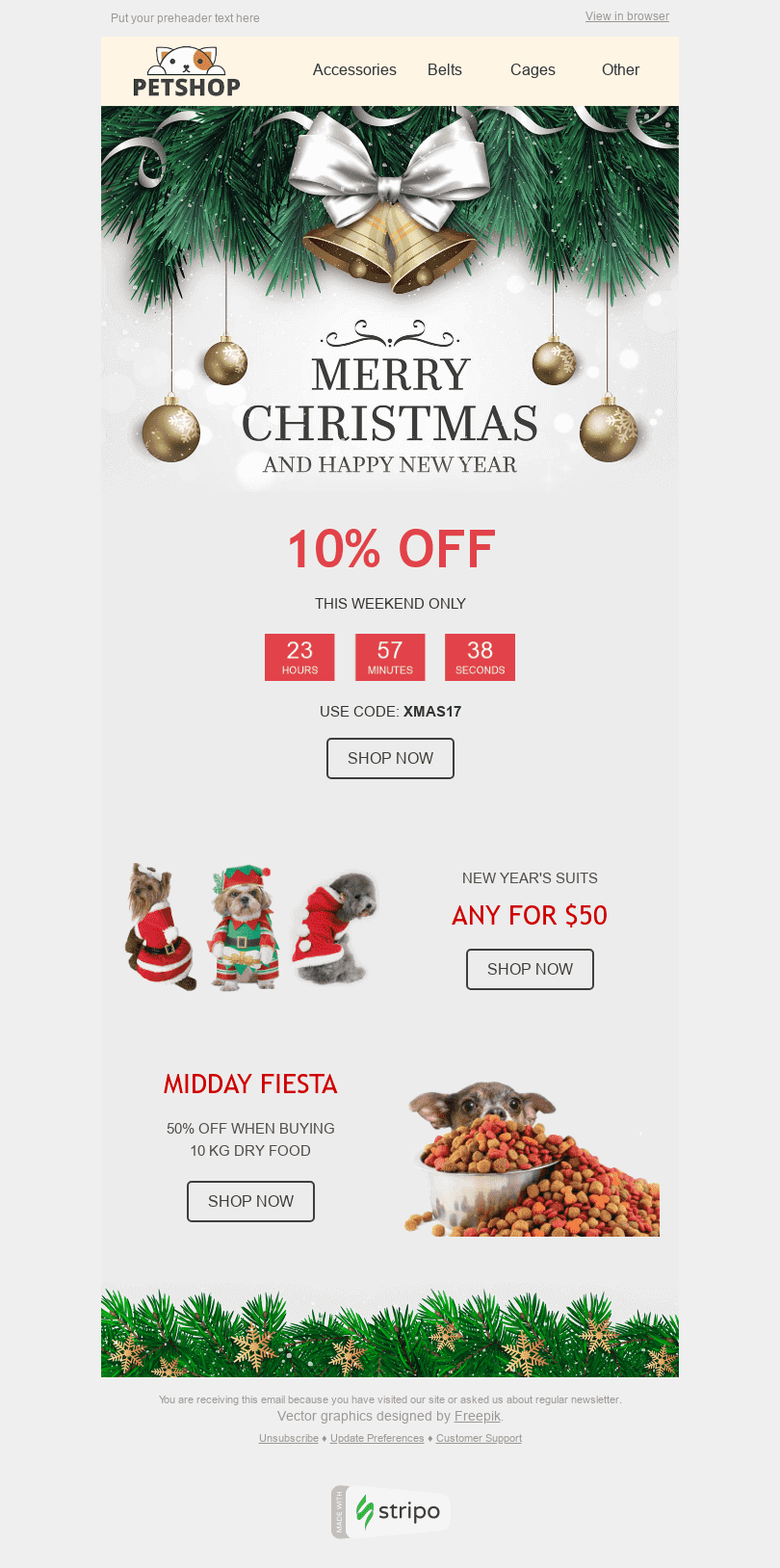 Stripo Pets Holiday newsletter Merry Christmas email web