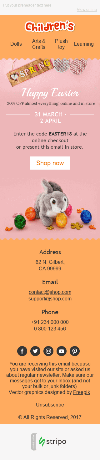 "Easter Email Template ""Cute Bunny"" for Kids Goods industry mobile view"