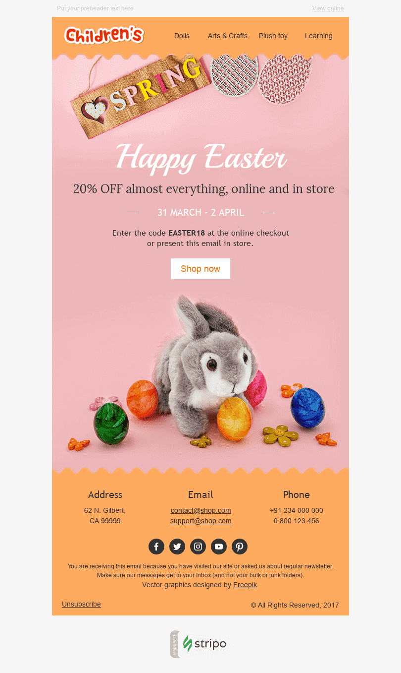 "Easter Email Template ""Cute Bunny"" for Kids Goods industry desktop view"