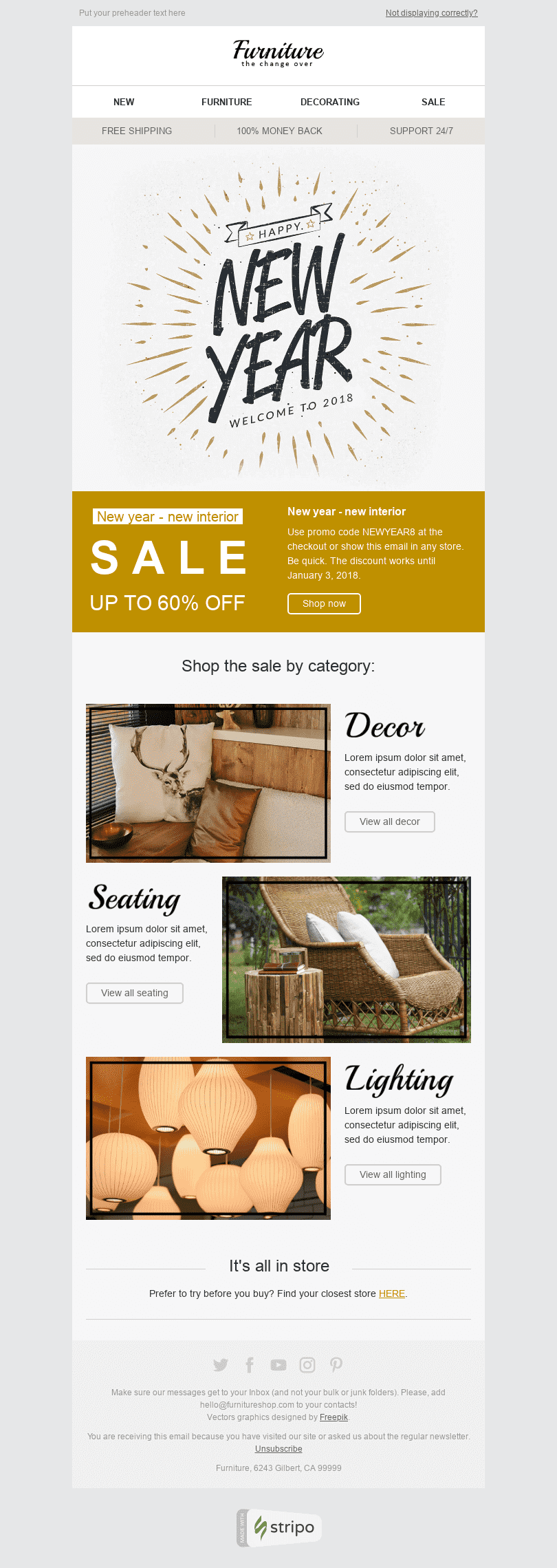 "New Year Email Template ""Stylish Interior"" for Furniture, Interior & DIY industry desktop view"