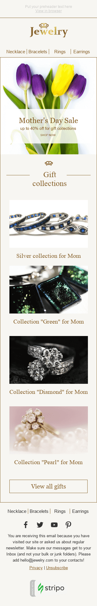 "Mother's Day Email Template ""Beautiful Bouquet"" for Jewelry industry mobile view"