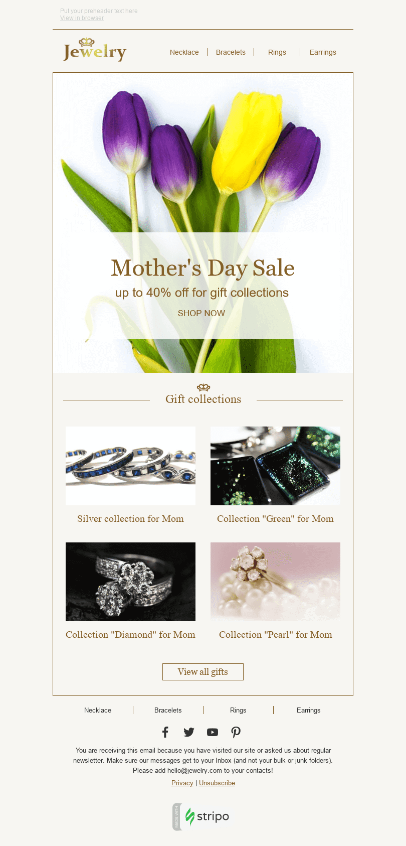 "Mother's Day Email Template ""Beautiful Bouquet"" for Jewelry industry desktop view"