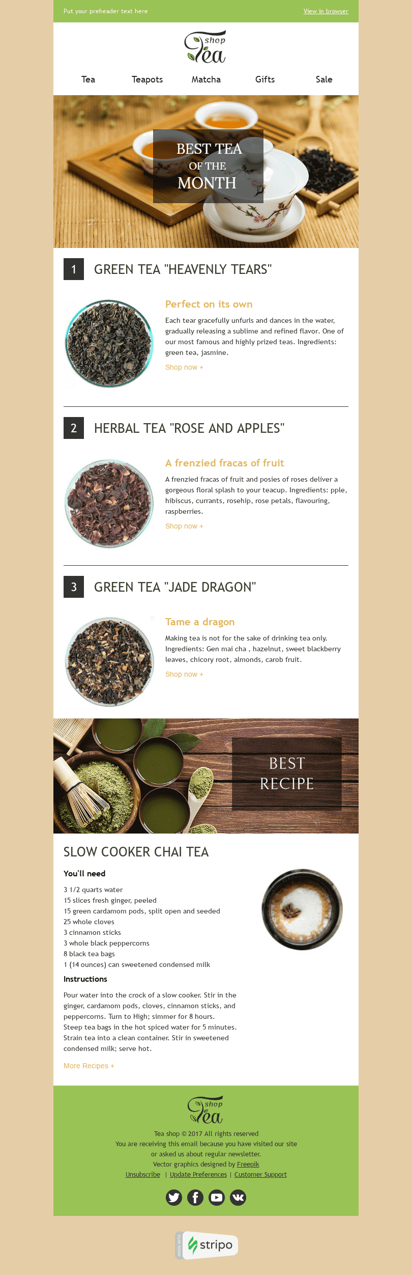 "New Collection Email Template ""Drink of the Month"" for Beverages industry desktop view"