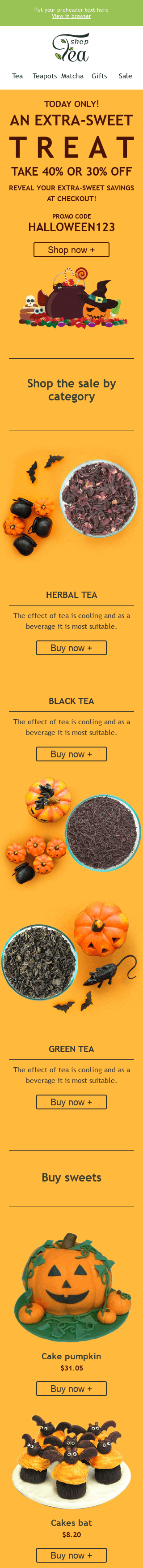 "Halloween Email Template ""Sweet Treat"" for Beverages industry mobile view"