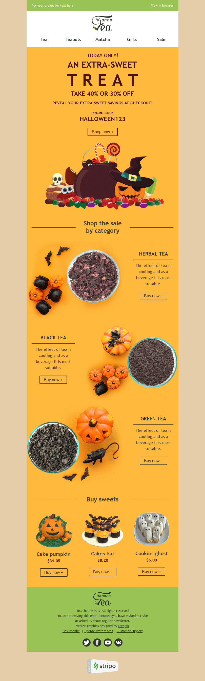 "Halloween Email Template ""Sweet Treat"" for Beverages industry desktop view"