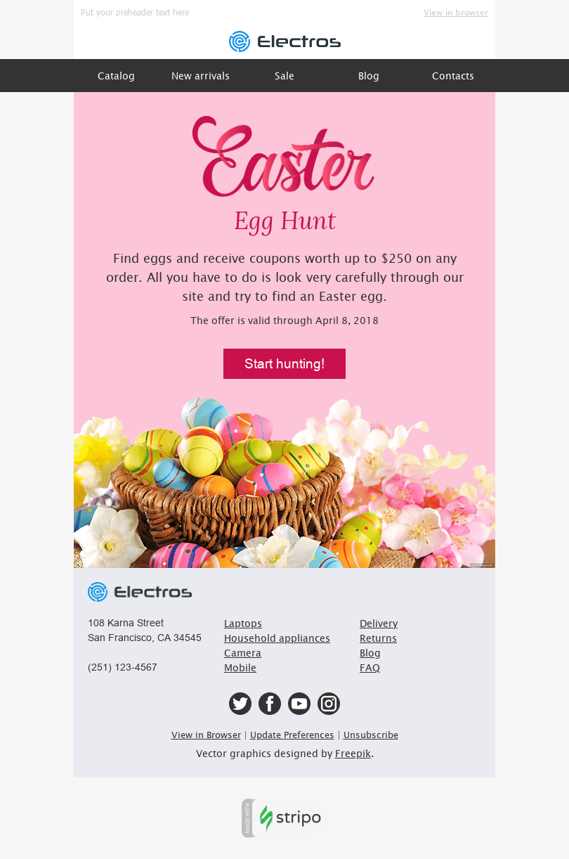 "Easter Email Template ""Hunt for Discounts"" for Gadgets industry desktop view"