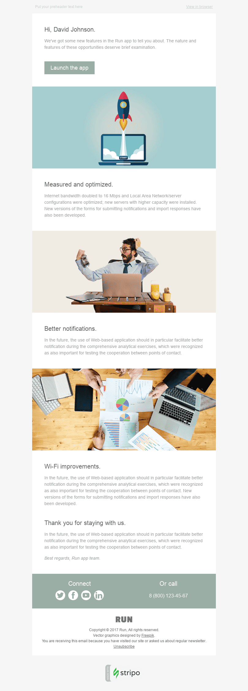 "Product Update Email Template ""Better Than Yesterday"" for Software & Technology industry desktop view"