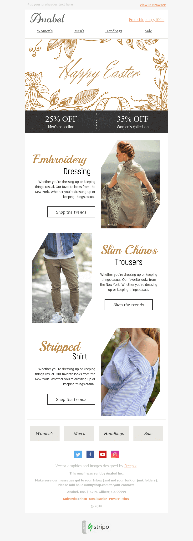 Stripo Fashion Holiday newsletter Happy Easter Gold Collection email web