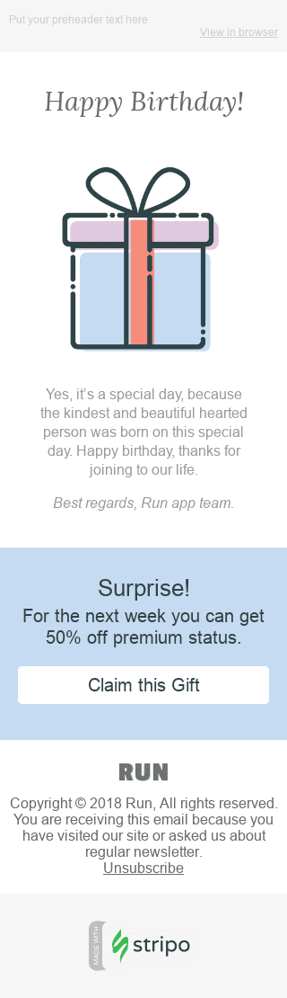 "Birthday Email Template ""Surprise"" for Software & Technology industry mobile view"