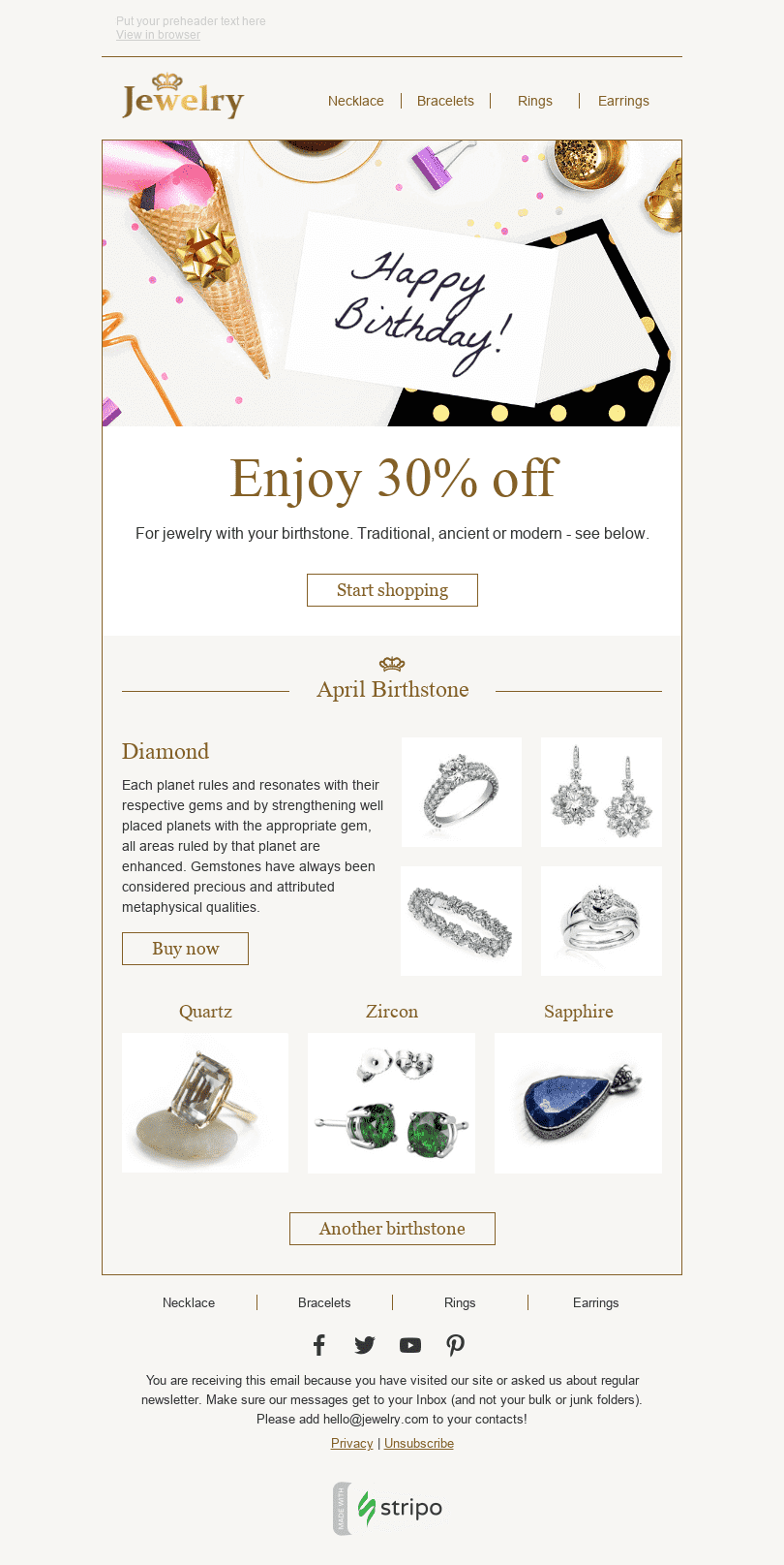 Stripo Jewelry Holiday newsletter Happy Birthday Talisman email web
