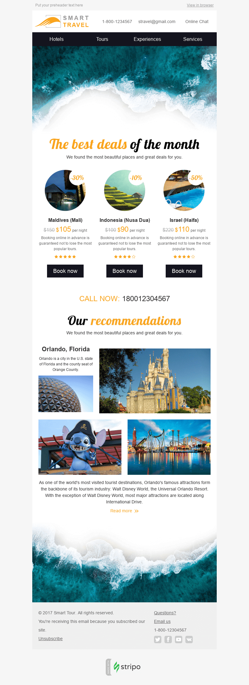 "Discount Email Template ""Deal of Month"" for Tourism industry desktop view"
