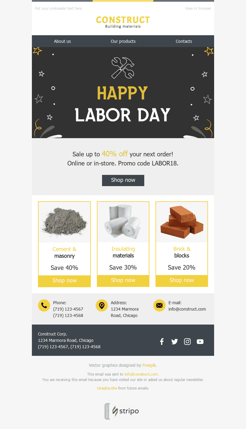 Stripo Constraction Holiday newsletter Labor Day Nice Present email web