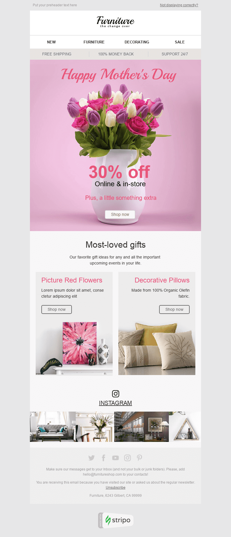 "Mother's Day Email Template ""Favourite Gifts"" for Furniture, Interior & DIY industry desktop view"