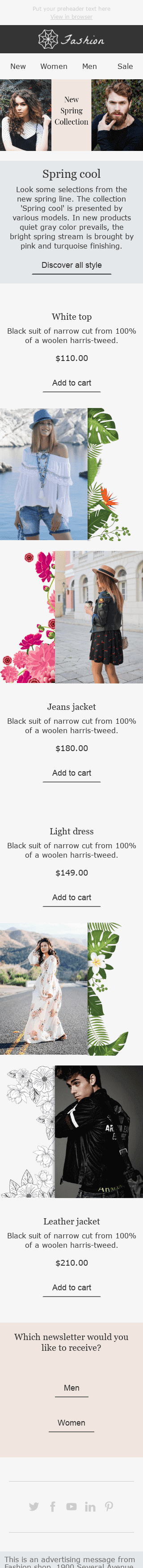 "Easter Email Template ""Fresh Discounts"" for Fashion industry mobile view"