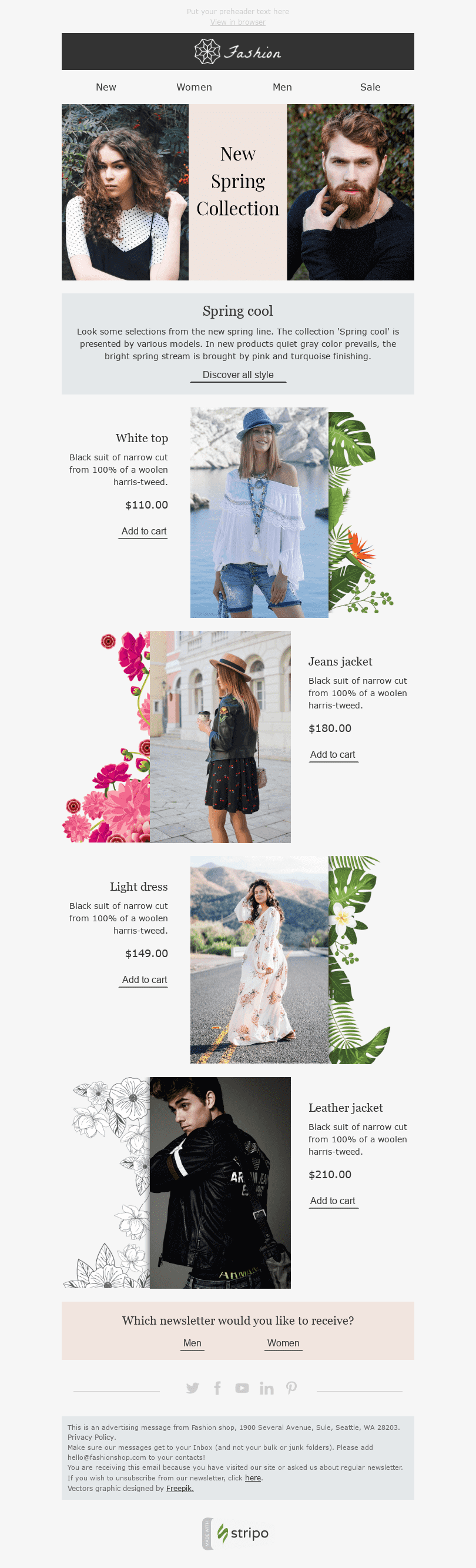 "Easter Email Template ""Fresh Discounts"" for Fashion industry desktop view"