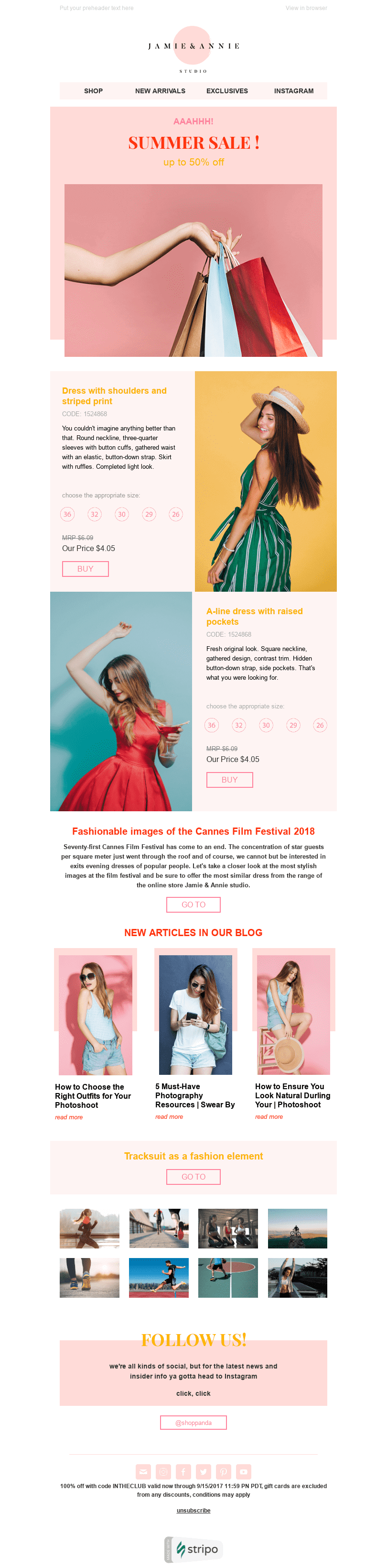 Promo Email Template «Summer Mood» for Fashion industry desktop view