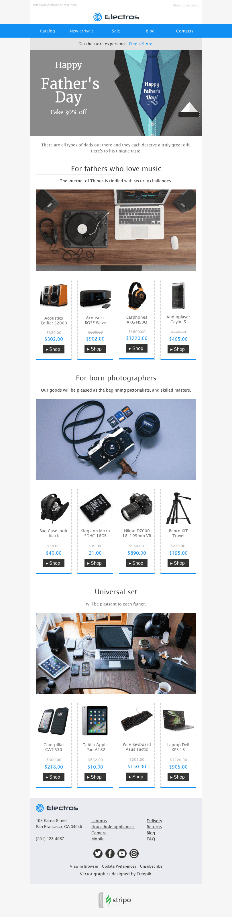 "Father's Day Email Template ""Ideal Gift"" for Gadgets industry desktop view"