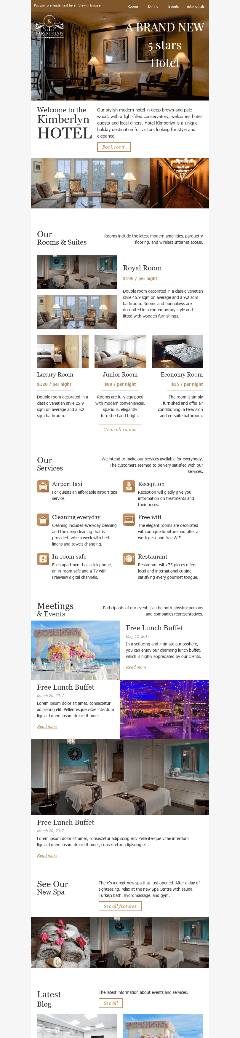 "Promo Email Template ""5 Stars"" for Hotels industry desktop view"