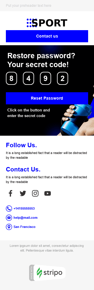 Password Reset Email Template «Sport Time» for Sports industry mobile view