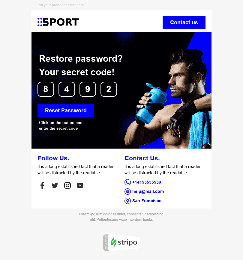 Password Reset Email Template «Sport Time» for Sports industry desktop view