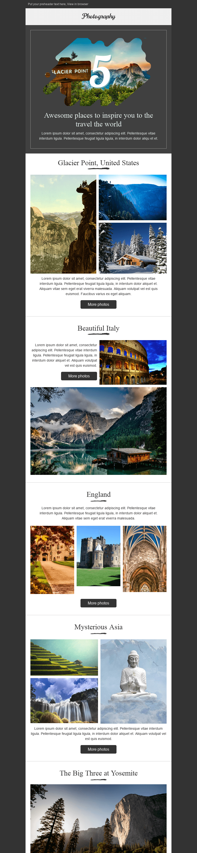 Stripo Photography Trigger newsletter Email Digest Beautiful World email web