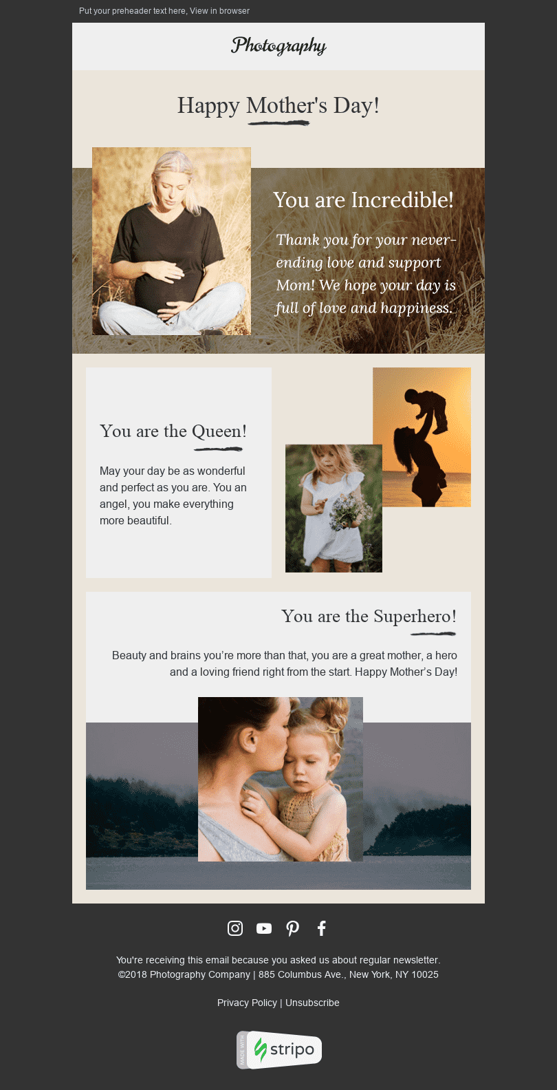 "Mother's Day Email Template ""Happiness"" for Photography industry desktop view"