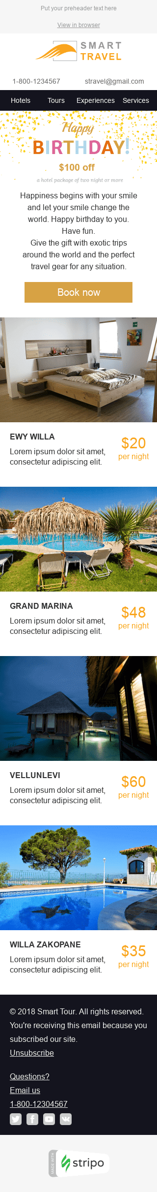 "Birthday Email Template ""Perfect Travel"" for Tourism industry mobile view"